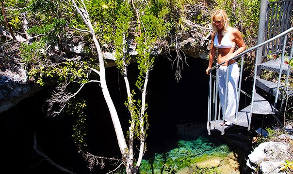 Person viewing an underwater cave