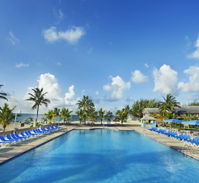 Viva Wyndham pool with lounging chairs